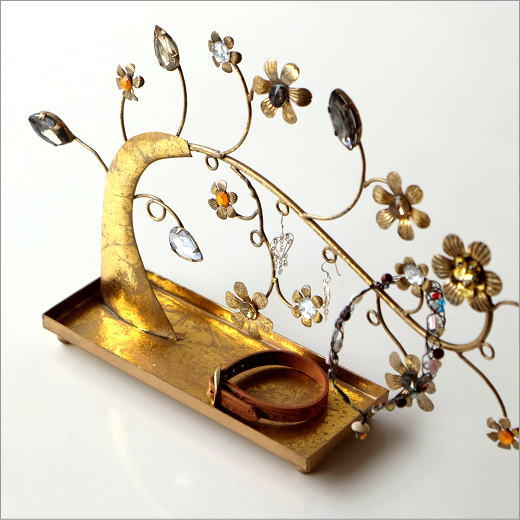 アクセサリートレイ インテリアオブジェ かわいい デザイン 置物 アクセサリースタンド アイアンのジュエルツリー