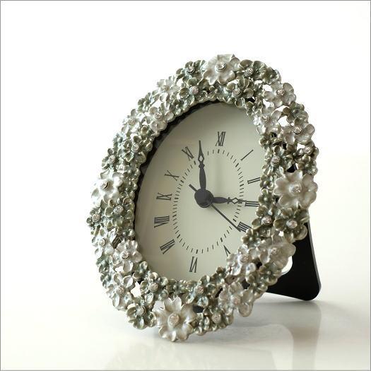 置時計 おしゃれ アンティーク アナログ かわいい 卓上 時計 テーブルクロック オーバルフラワー レビューを投稿する
