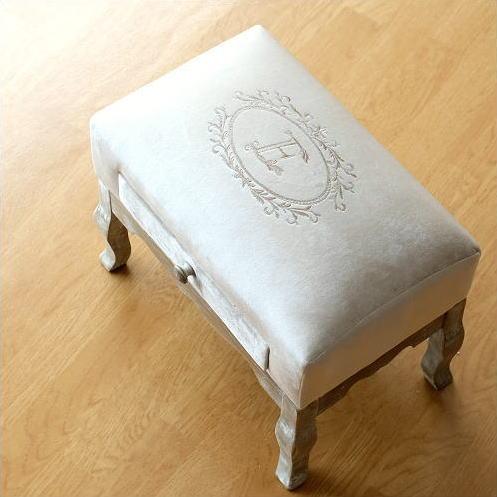 スツール アンティーク おしゃれ 椅子 布 クッション 木製 かわいい オットマン フットスツール コンパクト 玄関 足乗せ台 ローチェア ドロワーミニスツールI [abk7741]