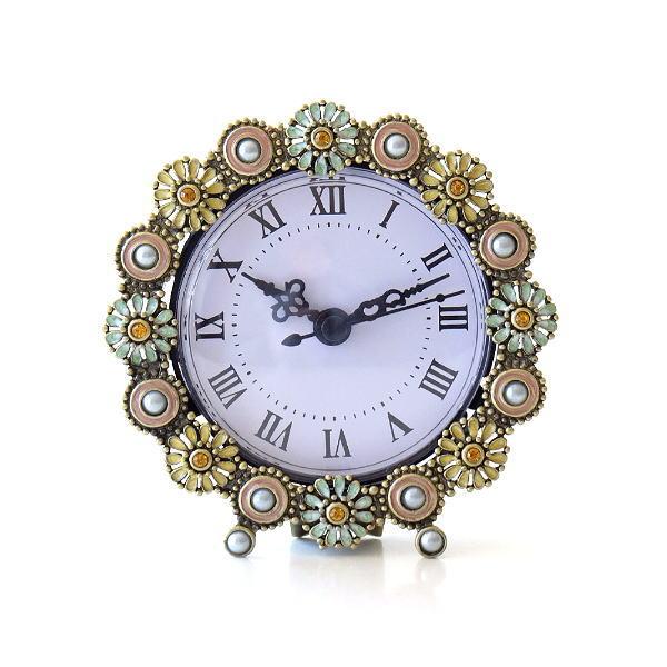 置き時計 おしゃれ アナログ 可愛い かわいい エレガント クラシック テーブルクロック パステルフラワー [abk8246]
