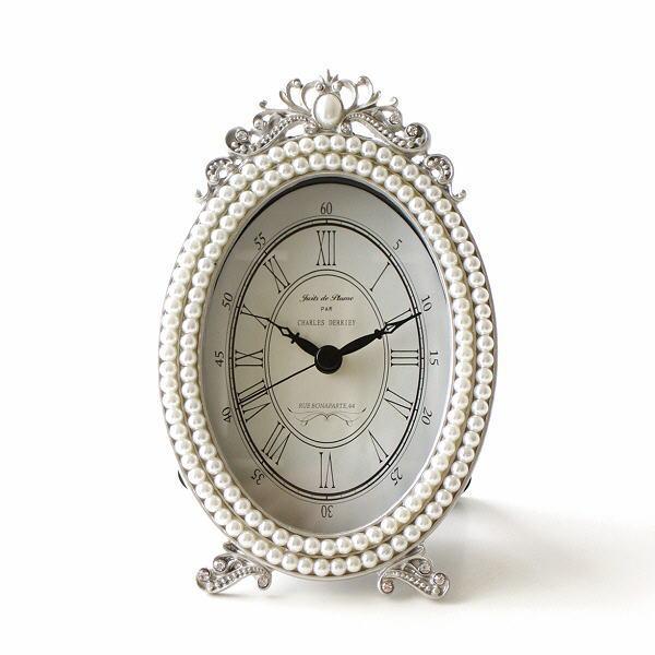 置き時計 おしゃれ アナログ かわいい 可愛い アンティーク レトロ リビング 卓上 時計 エレガント クラシック テーブルクロック パールオーバル [abk9244]