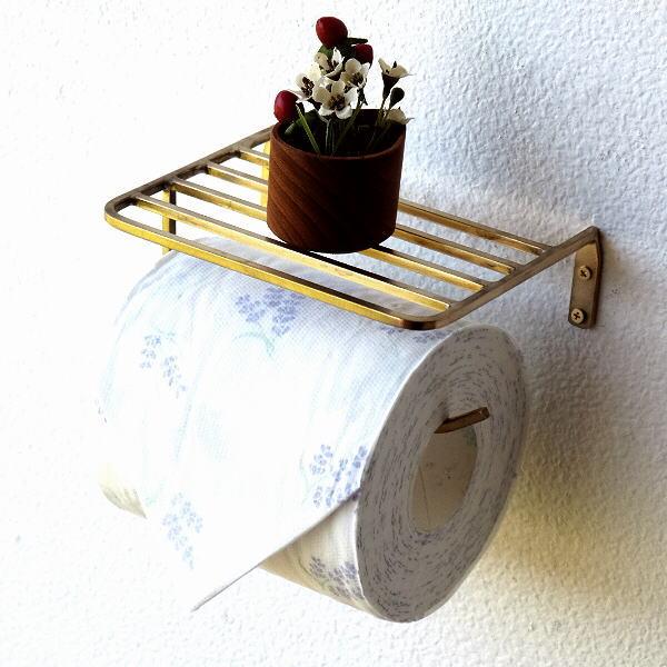 ペーパーホルダー トイレ 真鍮 アンティーク おしゃれ 棚付き ブラストイレットペーパーホルダー [aks0810]