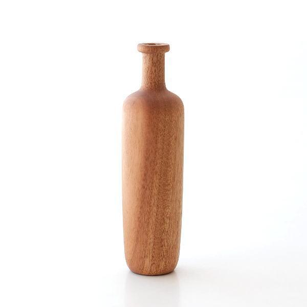 ウッドベース フラワーベース 花瓶 おしゃれ かわいい マホガニー 自然素材 ナチュラル 花器 生花 小さい シンプル 小さなウッドベース ブランジュ [aks1589]