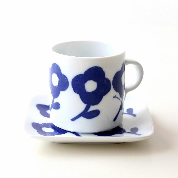 カップ&ソーサー おしゃれ 磁器 かわいい カフェ 白 ホワイト 美濃焼 日本製 マグカップ&プレート アネモネ [aks5825]