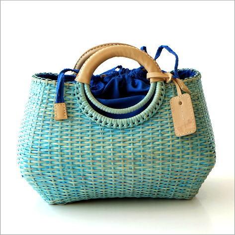 革巻きリングかごバッグ ブルー【送料無料】