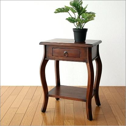 ベッドサイドテーブル ナイトテーブル 木製 花台 電話台 無垢 アジアン家具 マホガニーサイドチェスト【送料無料】