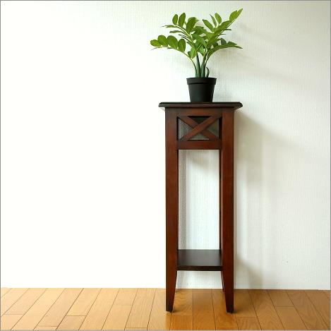 木製フラワースタンド 棚付き玄関花台 スリム 天然木 マホガニーの花台【送料無料】