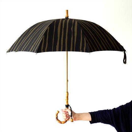 日傘 日本製 UVカット コットン100% バンブー 竹 傘 かさ カサ 和風 和柄 モダン 大人 おしゃれ コットンパラソル ストライプC 【送料無料】 [bam5777]