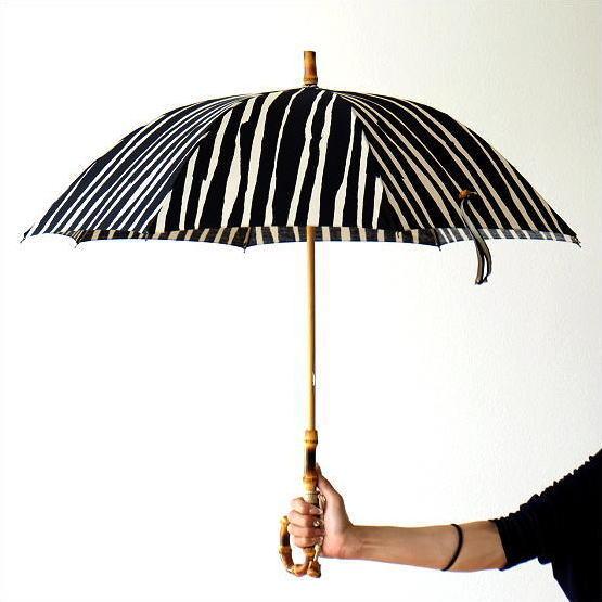 日傘 日本製 UVカット コットン100% バンブー 竹 傘 かさ カサ 和風 和柄 モダン 大人 おしゃれ コットンパラソル ストライプA 【送料無料】 [bam5778]