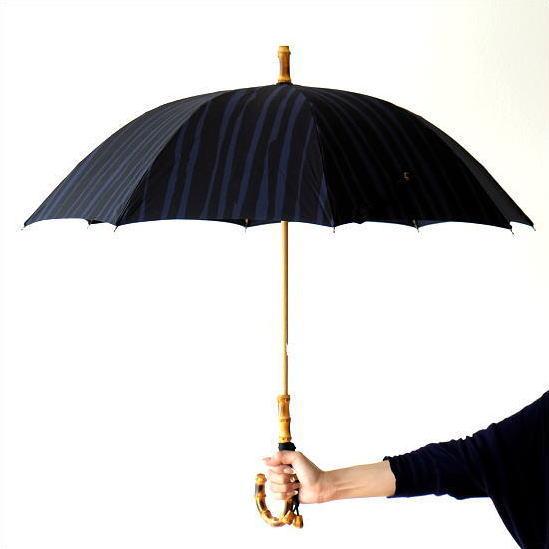 日傘 日本製 UVカット コットン100% バンブー 竹 傘 かさ カサ 和風 和柄 モダン 大人 おしゃれ コットンパラソル ストライプB 【送料無料】 [bam5779]