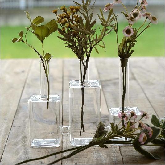 花瓶 シンプル おしゃれ フラワーベース 三連ガラスベース