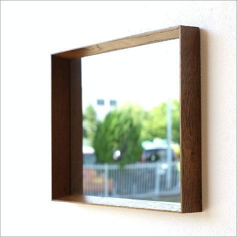 壁掛けミラー 鏡 壁掛け 木製 シンプル おしゃれ 玄関 ウォールスクエアミラー
