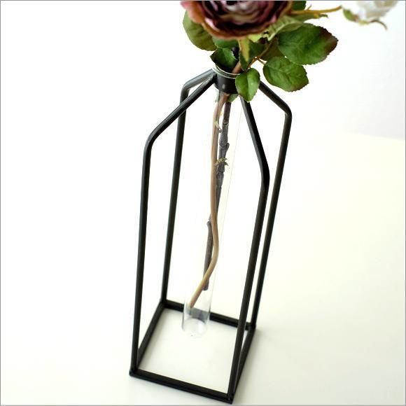 一輪挿し ガラス 花瓶 試験管 花器 インテリア おしゃれ グラスチューブのスタンド スクエア