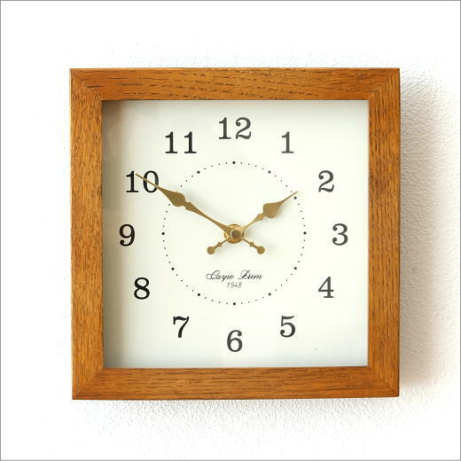 掛け時計 木製 おしゃれ ウォールクロック ナチュラル 天然木 オーク材 木 シンプル オークスクエアクロック