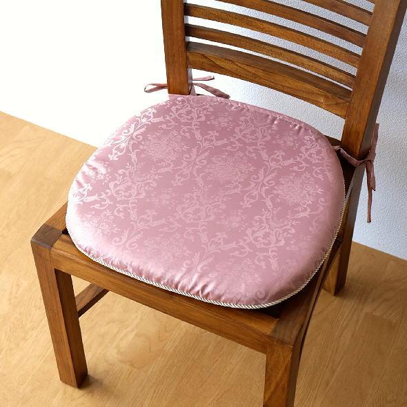 シートクッション ひも付き おしゃれ エレガント ジャガード織り 椅子用クッション シートクッション2カラー [clb7937]