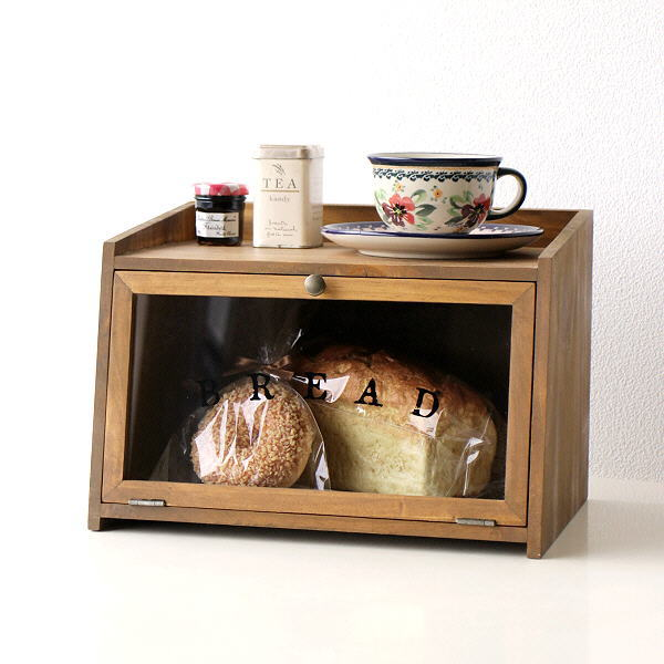 ブレッドケース 木製 パンケース 食パン ストッカー 収納 保存ケース ガラス扉 かわいい 天然木 キッチン 北欧 ナチュラル カントリー ウッドブレッドボックス [cle0709]