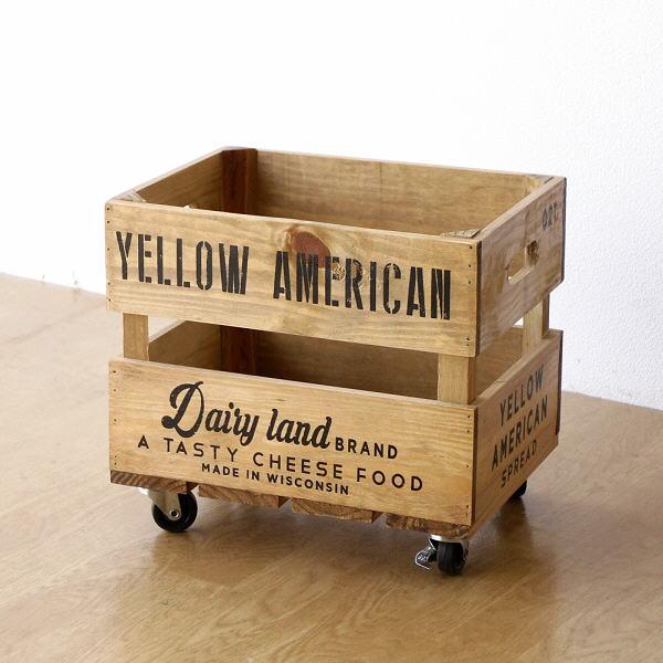 キャスター付き ボックス 収納 木製 ウッドボックス 木箱 ナチュラル バスケット かご おもちゃ 野菜 お片付け ストッカー オールドパインキャスターBOX [cle0755]