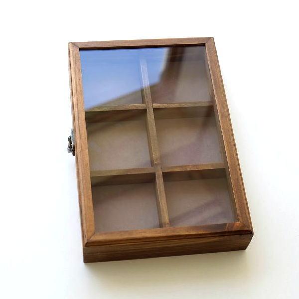 コレクションボックス 木製 ショーケース コレクションケース 卓上 アクセサリーケース 小物入れ ふた付き 収納ケース 仕切り 格子 コレクションボックス [cle0889]