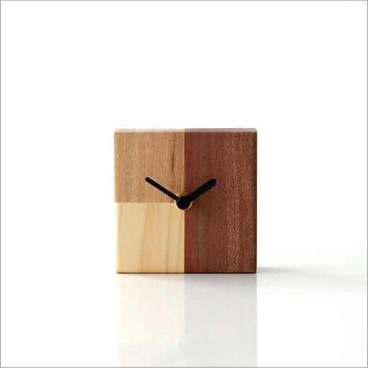 天然木の置き時計 モザイクA