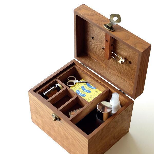 救急箱 木製 おしゃれ 小物入れ 薬箱 収納 整理ボックス 木箱 救急ボックス ファーストエイドボックス ナチュラル シンプル ブラウン 木の救急箱 [cle1268]