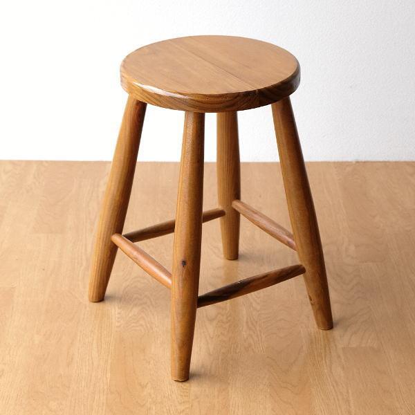 スツール 木製 丸椅子 天然木 ウッドスツール ナチュラル おしゃれ レトロ アンティーク オールドパインのラウンドスツール [cle1929]