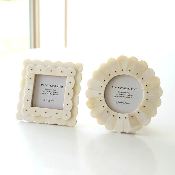 フォトフレーム おしゃれ 写真立て 壁掛け 卓上 ナチュラル かわいい レトロ 木製 ボーン 自然素材 天然素材 ミニ 小さい ボーン&ブラスフレーム 2タイプ [cle2332]