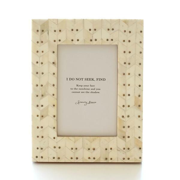 フォトフレーム おしゃれ 写真立て 壁掛け 卓上 ナチュラル モダン レトロ 木製 ボーン 自然素材 天然素材 L判 ボーン&ブラスフォトフレーム ドット [cle2368]