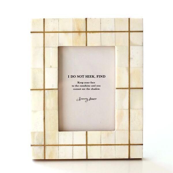 フォトフレーム おしゃれ 写真立て 壁掛け 卓上 ナチュラル モダン レトロ 木製 ボーン 自然素材 天然素材 L判 ボーン&ブラスフォトフレーム ライン [cle2370]