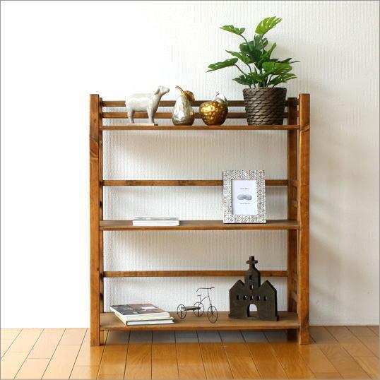 ウッドラック 飾り棚 木製 本棚 オープンラック 天然木 ナチュラル カントリー 幅70cm ウッド3段シェルフ【送料無料】