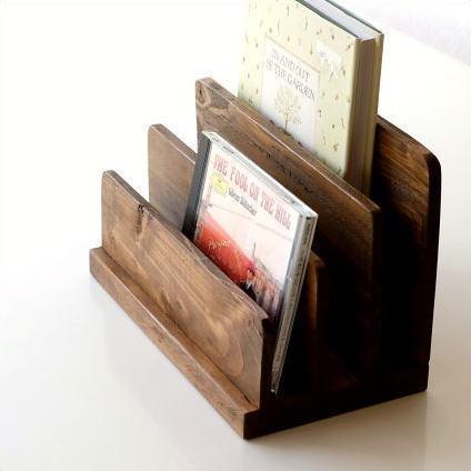 ブックスタンド 木製 おしゃれ 本立て CDスタンド ウッドブックホルダー [cle5939]
