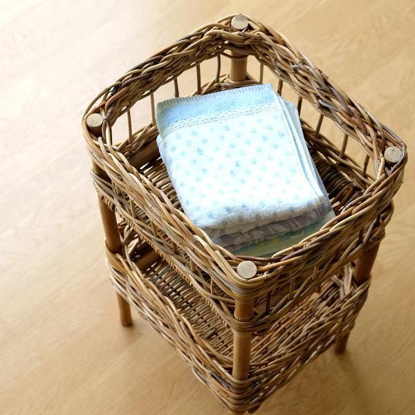 バスケット アラログ 2段 収納 ランドリーラック 自然素材 ナチュラル おしゃれ バスルーム 洗濯かご 洗面 おもちゃ入れ 片付け アラログ2段バスケット [cle6053]