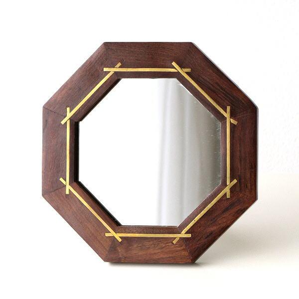 鏡 壁掛けミラー 卓上 八角形 天然木 真鍮 おしゃれ アンティーク ゴールド 玄関 トイレ 化粧 メイク コンパクト ウッド&ブラスミラー 八角 [cle6875]