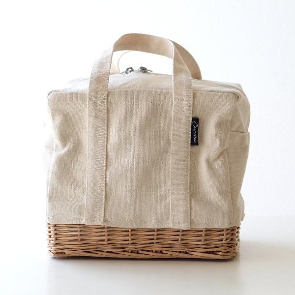 ランチバッグ 保冷バッグ クーラーバッグ キャンバス トート ファスナー おしゃれ お弁当 手提げ かばん スクエア キャンバスのランチクーラーバッグ WH [cle6891]