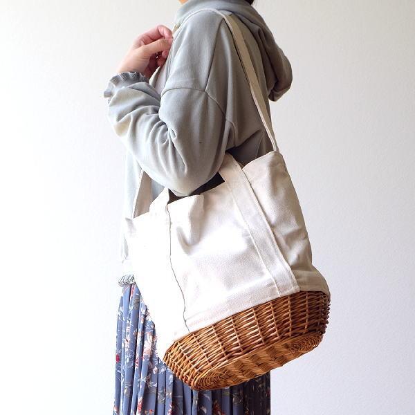バッグ キャンバス ショルダー 肩掛け おしゃれ かばん トート ハンドル 持ち手 内ポケット ウィロー 柳 天然素材 キャンバスの2WAYバッグ WH [cle7227]
