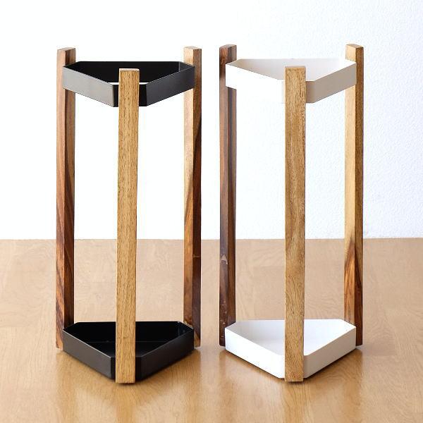 傘立て おしゃれ 木製 アイアン 三角形 デザイン シンプル スタイリッシュ 黒 白 ブラック ホワイト アイアンとウッドの傘立て A2カラー [cle8401]