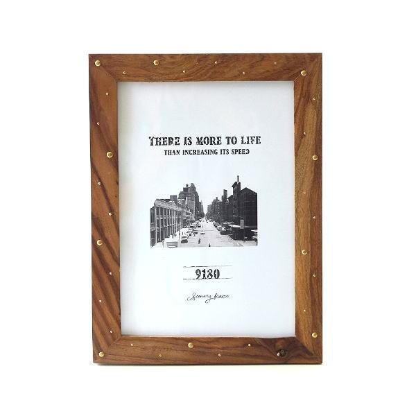 ピクチャーフレーム 木製 フォトフレーム 写真立て おしゃれ 卓上 壁掛け 縦置き 横置き 壁飾り ビッグなウッド&ブラスフレーム [cle8428]