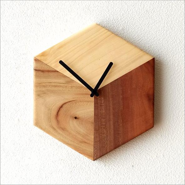 天然木の掛け時計 モザイク