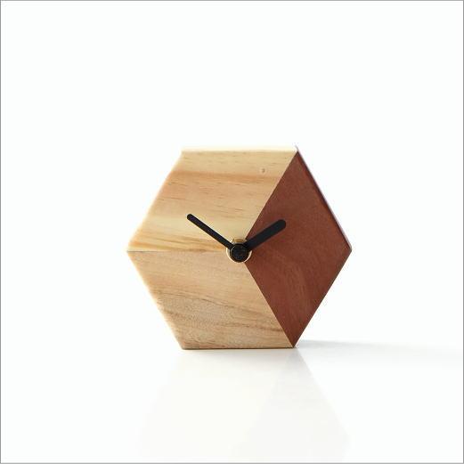 天然木の置き時計 モザイクB