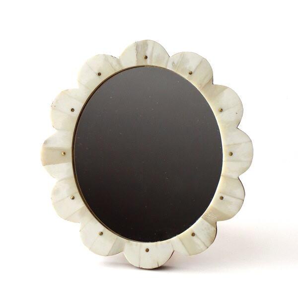 鏡 ミラー おしゃれ 壁掛けミラー 置き型 かわいい アンティーク レトロ 真鍮 エスニック お花 フラワー ボーン 卓上 ボーンフラワーミラー [cle9847]