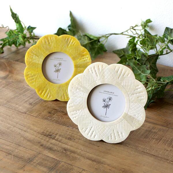 フォトフレーム 写真立て 壁掛け 卓上 かわいい 小さい 丸 円形 花 デザイン ボーンフラワーフレーム 2カラー [cle9938]