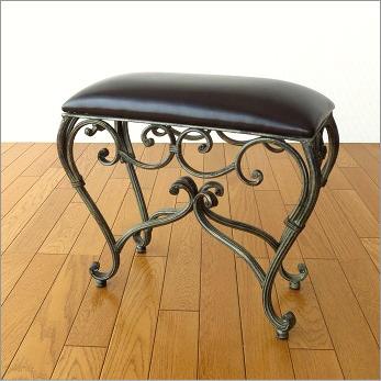 スツール 椅子 いす イス クッションチェア 玄関 アンティーク おしゃれ アイアンのスリムなスクエアスツール2【送料無料】