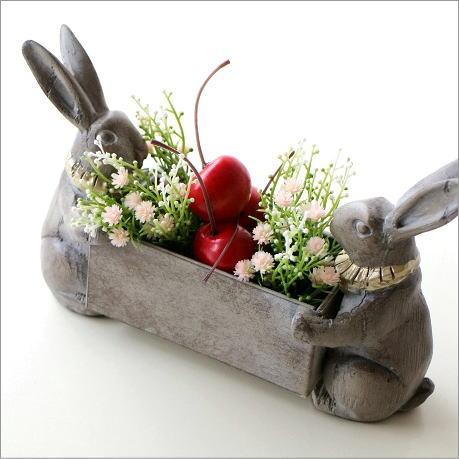 小物入れ うさぎ ウサギ 雑貨 置物 フラワーラック 鉢ラック コンテナ 小さなラビットボックス
