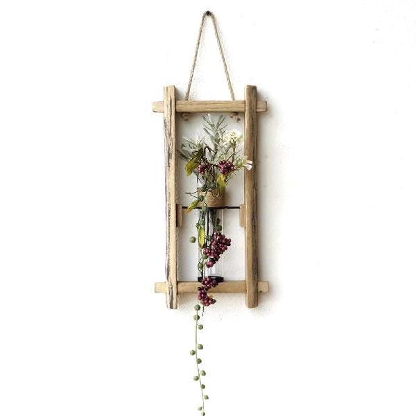 木製 おしゃれ かわいい 壁掛け 花瓶 インテリア 花器 ガラス管 試験管 天然木 壁飾り デザイン ウッドウォールフレームベース [cov3708]