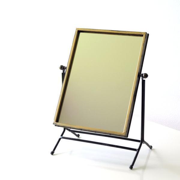 鏡 卓上ミラー おしゃれ アンティーク レトロ シンプル スタンドミラー 化粧ミラー 化粧鏡 メイクミラー 可動式 角度調節 ゴールドフェンススイングミラー [cov6080]