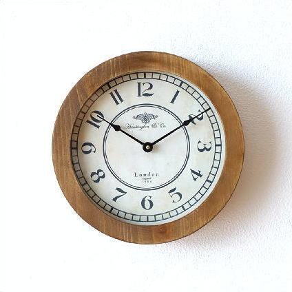 掛け時計 おしゃれ 木製 ナチュラル ウォールクロック 玄関 アンティーク レトロ ウッドモートクロック [cov6090]