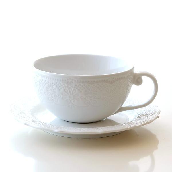 カップ&ソーサー 白 ホワイト 陶器 おしゃれ 紅茶 コーヒーカップ&ソーサー 洋風 シャローティーカップ&ソーサー [cov6140]