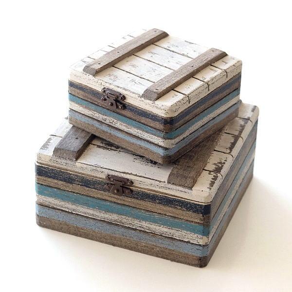 小物入れ ふた付き 木製 アクセサリーケース おしゃれ 宝箱 入れ子 収納 アンティーク レトロ 卓上 ウッドトレジャーBOXセット [cov6796]