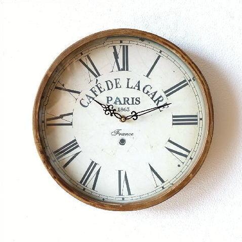 掛け時計 おしゃれ 木製 木 シンプル ナチュラル ウォールクロック 北欧 玄関 かわいい アンティーク レトロ ラガールクロック [cov7887]