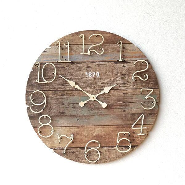 壁掛け時計 掛け時計 おしゃれ アンティーク レトロ 木製 ウォールクロック 大きい 直径60cm ビッグなシャビークロック ホワイトワイヤーレター 【送料無料】 [cov8668]