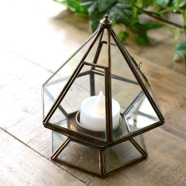 キャンドルホルダー ガラス 真鍮 アンティーク おしゃれ シンプル インテリア LED付きブラスとガラスのキャンドルスタンド [cov8740]